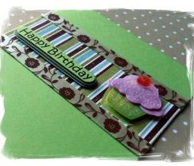 Cupcake Happy Birthday Handmade Card