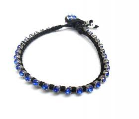 Friendship bracelet leather royal blue rhinestone chain silk woven stackables Trendy fashion punk rock spring 2012 for her under 20