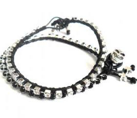 Friendship bracelet leather black rhinestone chain silk woven stackables Trendy fashion Black silver skull spring 2012 for her under 20