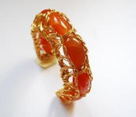 Carnelian Wire Wrapped Bracelet Cuff