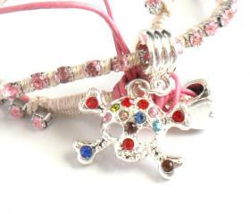 Double strand Friendship Bracelet rhinestone chain sugar skull silk woven Choker Metallic fashion Angora spring 2012 trendy under 40