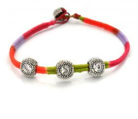 Friendship Bracelet Leather Bracelet Woven in multicolored cotton thread Swarosvki crystal fashion Neon spring 2012 trendy for her under 20