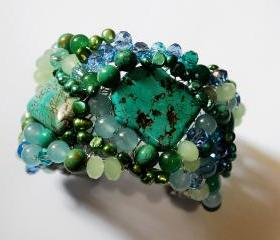  Beaded cuff bracelet made with Tuquoise gemstones, fresh water pearls and crystals