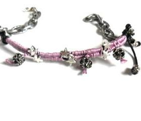 Friendship bracelet silk braid gunmetal chain leather silver rhinestone beads punk rock Metallic fashion trendy gift for her under 20