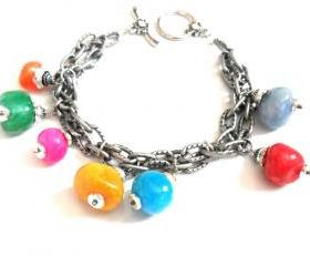 Bracelet gunmetal double textured chain multicolored chunky beads -Bubbles- Metallic high fashion bracelet valentine's gift for her under 30