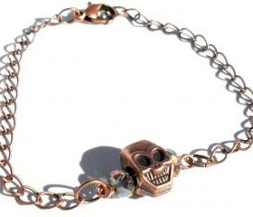 Skull Bracelet copper chain smoky faceted crystals copper skull. fashion bracelet valentine's gift for her under 10