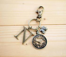 Charm Keychain, Alphabet, Clock, Custom, Optional