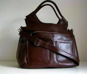 Brown Leather Weekend Travel Laptop Bag