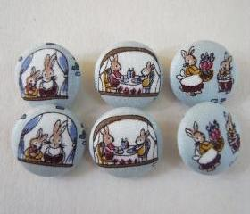 6 large blue rabbit Fabric covered Handmade buttons 22mm woodland bunnies