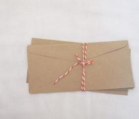 10 Long letter flat kraft 23cm X 10.5cmenvelopes great to use for money letters document long card