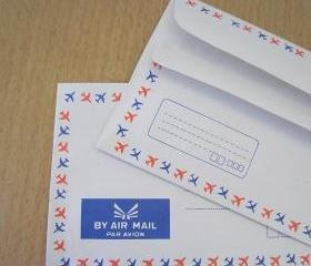 Set of 20 french airmail envelopes airplane trim self glue 50grm.