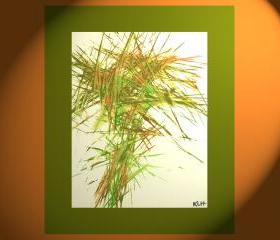 Spring Green and Burnt Orange Energy -- Contemporary Expressionism -- Original Modern Abstract Painting ---- 5956.060609 