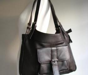 Brown Leather Pocket Shoulder Bag