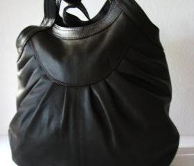 Brown Leather Pleated Tote