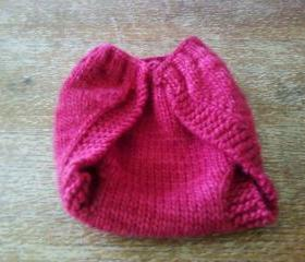 Red Knit Wool Diaper Wrap