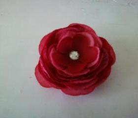 Girl's Pink and Red Rose Hair Clip