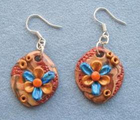 Earrings in stylish design - Unique handmade - Fimo - OOAK