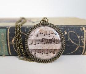 Music Necklace, Sheet Music Necklace, Sheet Music Jewelry, Music Jewelry, Resin Necklace, Gifts for Musicians 