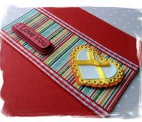 Big Yellow Heart I Love You Handmade Card