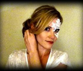 White Lace Half Mask - Adheres to skin!