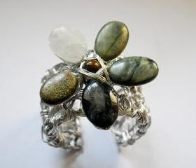 Obsidian, Quartz, Jasper Wire Wrapped Flower Bracelet Cuff