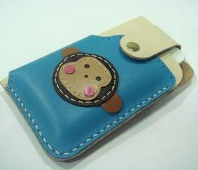 Kelvin the Monkey iPhone 4 leather case ( Blue / Creamy )