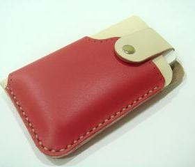 Leatherprince Handmade iPhone 4 leather case ( Red / Creamy )