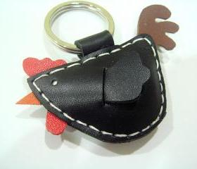 Rebacca the Rooster Leather Charm ( Black )