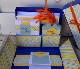 Stationery Box Set - Blue, yellow and orange THANK YOU set