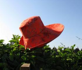 Orange Batik Wide Brim SunHat Womens