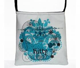 Kitty Cat Cute Turquoise Blue Cross Body Essentials Handbag Purse, Ready to Ship