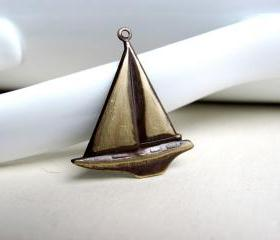 Dark Patina Sailboat Pendant Charm