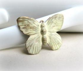 1 Cream Butterfly Pendant, Hand Patina Pendant