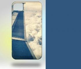 iPhone 4 Case: Wing and Clouds Original Photography blue white pastel airplane