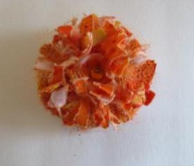 Orange Frilly Flower Brooch