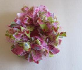 Pink Green Frilly Flower Brooch