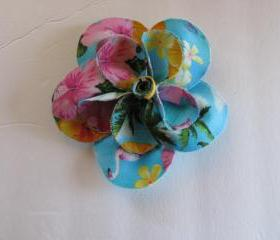 Blue Pink Tropical Flower Brooch