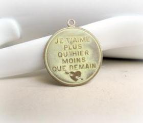 Hand Patina Cream French Pendant, Brass Pendant
