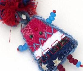 Fiber Art Brooch, Mixed Media Pin Patriotic Girlfriend