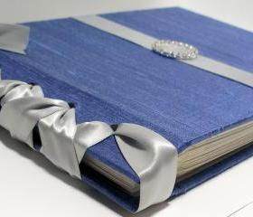Wedding Guest Book/Album -Iridescent Blue Dupioni Silk w/Grey Ribbon (custom colors available)