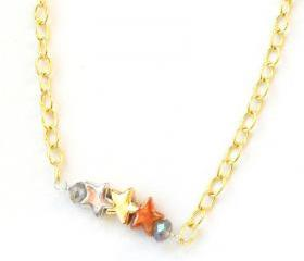 Simple everyday necklace, silver, copper, gold stars, smoky crystal beads, gold plated chain. Gift for her under 15