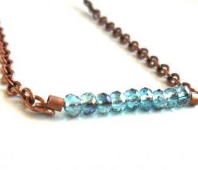 Tiny blue horizon faceted crystal beads bar necklace, copper chain, delicate jewelry for everyday, mother's day gift Under 25