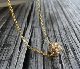 Delicate rhinestone ball bead, dainty gold filled chain necklace, everyday simple jewelry, mother's day gift for her under 25