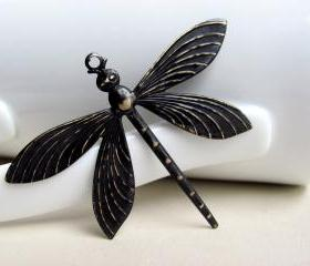 Black Patina Dragonfly Pendant