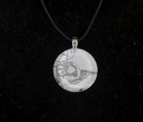 Angel Pendant on Black Cord