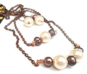Pearls bar necklace, earth tones, set of three, Fashion, metallic, mother's day gift for her under 35
