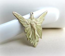 Patina Cream Angel Pendant