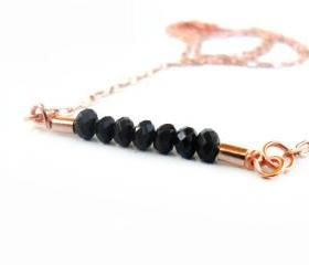 Delicate everyday jewelry, black crystal bar, rose gold chain, simple necklace, Mother's Day Gift for her under 25