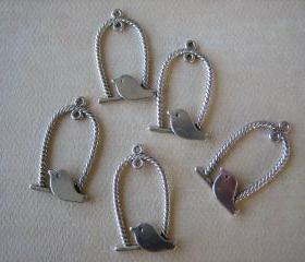 5PCS - Alloy Antique Silver Bird Swing Charms - 32x18mm - Findings by ZARDENIA