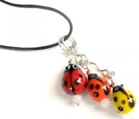 Ladybug pendant necklace, black leather, moonstone Glass bump beads - Me and MyLadies - Mother's Day gift for her under 15